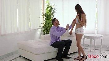 Пышногрудая служанка в миниатюрном юбочке раздевается и онанирует пизду пальчиками